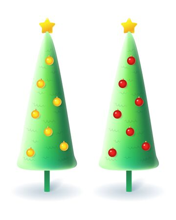 Slim Christmas trees with yellow and red decorations - vector illustration isolated on white background