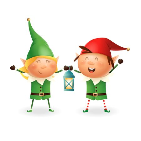 Christmas Elves girl and boy with lantern - vector illustration isolated on transparent background
