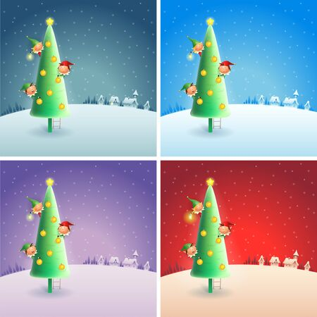 Elves and Christmas tree on winter snowy scene - set of Christmas background
