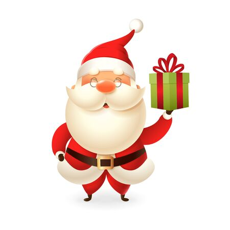 Santa Claus with gift box - vector illustration isolated on transparent background