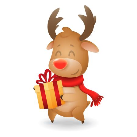 Cute Reindeer with gift box - vector illustration isolated on transparent background