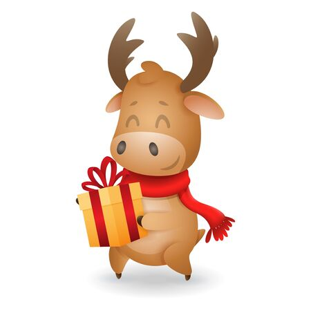 Cute Moose with gift box - vector illustration isolated on transparent background Иллюстрация