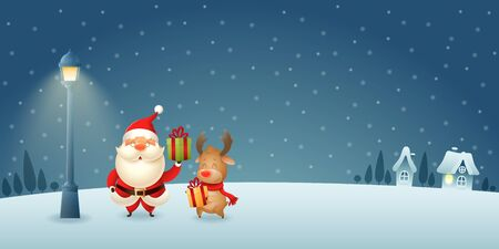Cute Santa Claus and Reindeer with gifts under city lantern on winter night scene - Christmas background Banque d'images - 133115978