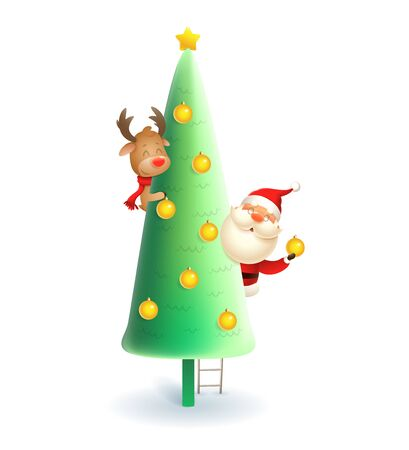Santa Claus and Reindeer decorating Christmas tree - vector illustration isolated on white background Иллюстрация