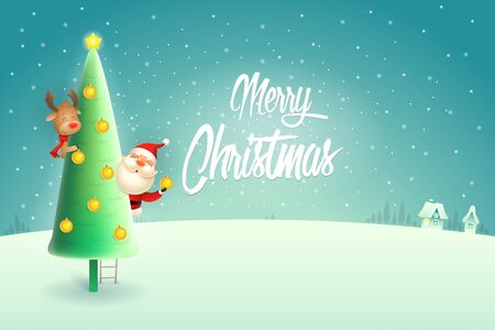 Santa Claus and Reindeer on Christmas tree - winter night scene background with text Merry Christmas