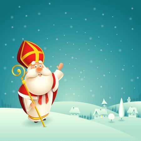 Saint Nicholas theme - winter snowy night landscape background