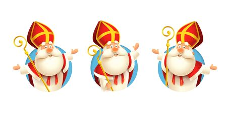 Saint Nicholas Sinterklaas stickers set - vector illustration isolated on transparent background