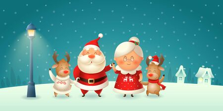 Santa Claus his wife Mrs Claus and Reindeers celebrate Christmas - winter night scene Ilustração