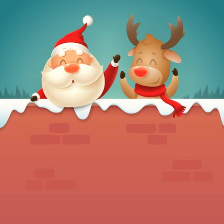 Santa Claus and Reindeer on wall - winter night scene vector illustration