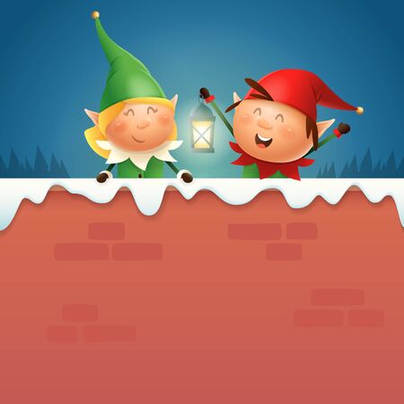 Elves girl and boy with lantern on snowy wall - winter night scene vector illustration 向量圖像