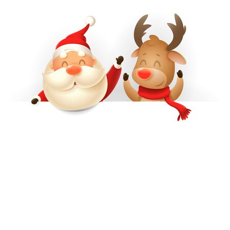 Santa Claus and Reindeer on billboard - vector illustration isolated on white background 向量圖像