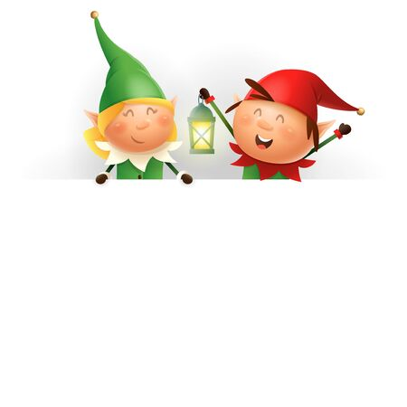 Cute Christmas Elves girl and boy on billboard - vector illustration isolated on white background 向量圖像