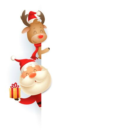 Santa Claus and Reindeer on left side of board - vector illustration isolated on white background