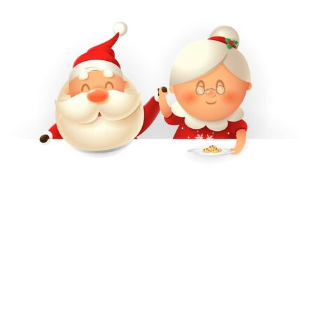 Santa Claus and his wife Mrs Claus on top of board with cookies - vector illustration isolated on white background