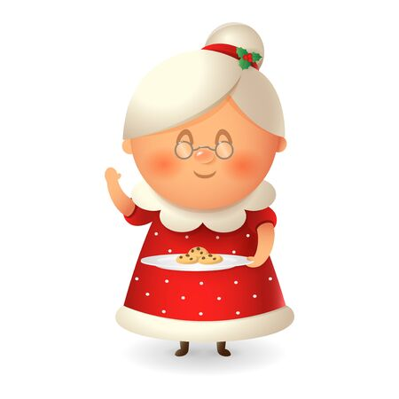 Mrs Claus - wife of Santa with cookies - vector illustration isolated on transparent background