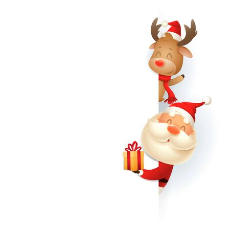 Santa Claus and Reindeer on right side of board - vector illustration isolated on white background