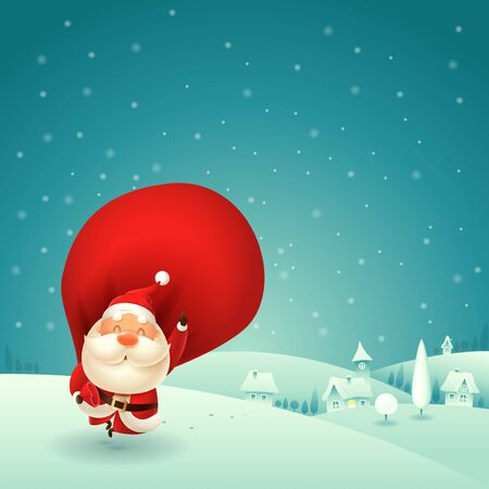 Happy Santa Claus is coming to town - winter night scene vector illustration
