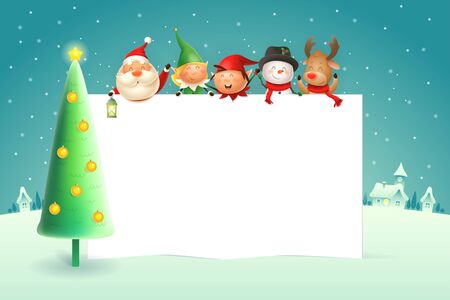 Christmas poster template with Santa Claus Elves Snowman Reindeer and Christmas tree - winter landscape on background Ilustração