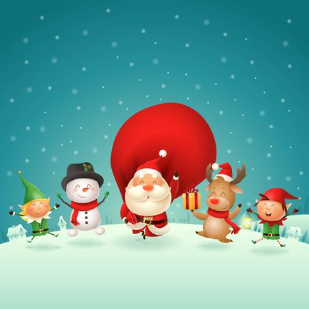 Christmas Friends Elves Santa Snowman and Reindeer celebrate holidays - jumping singing dancing on winter night scene - vector illustration