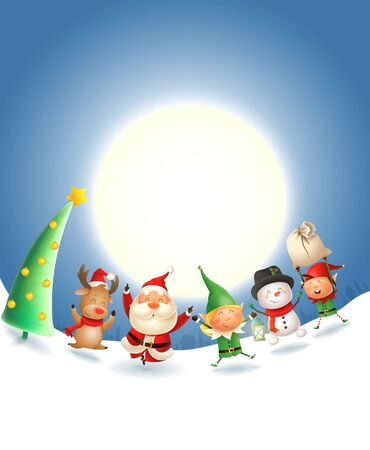 Santa Claus and friends celebrate Christmas holidays - moonlight winter scene - vector illustration