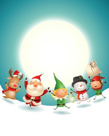 Le Père Noël et ses amis célèbrent les vacances de Noël - paysage d'hiver au clair de lune - illustration vectorielle