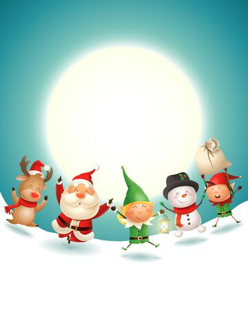 Santa Claus and friends celebrate Christmas holidays - winter landscape at moonlight - vector illustration