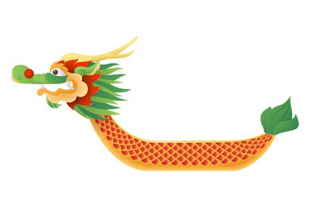 Dragon boat traditional festival - boat vector illustration isolated on transparent background - Duanwu or Zhongxiao festival