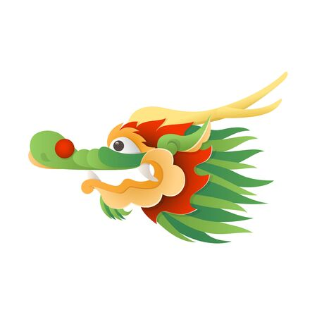 Chinese Traditional Dragon - head vector illustration isolated on transparent background 向量圖像