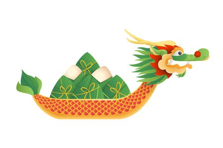 Dragon boat festival - vector illustration isolated on transparent background - Duanwu or Zhongxiao festival