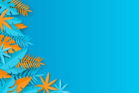Summer tropical background - blue and orange paper leaves - vector illustration Illustration