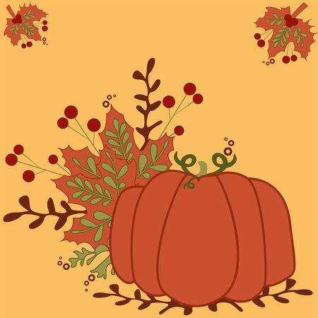 Stylized vintage pumpkin - vintage autumn vector illustration Illustration