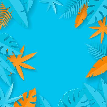 Tropical summer leaves - paper art - blue and orange summer background Иллюстрация