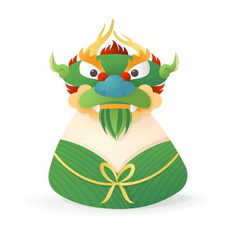Dragon Boat Festival concept - Dragon head front view on Zongzi - Duanwu or Zhongxiao - vector illustration isolated 向量圖像