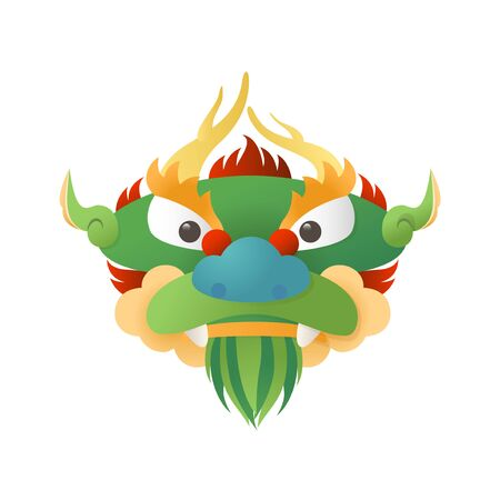 Traditional Chinese Dragon - head front view - vector illustration isolated 向量圖像