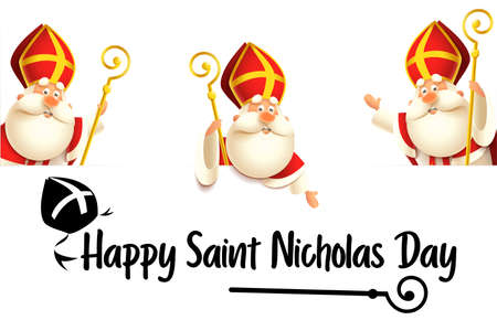 Happy Saint Nicholas or Sinterklaas day set isolated on transparent background