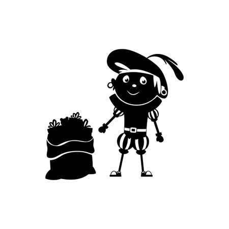 A happy friend of Saint Nicholas or Sinterklaas Zwarte Piet with sack and gifts - silhouette isolated on transparent background