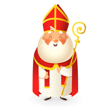 Saint Nicholas - happy cute character - vector illustration isolated