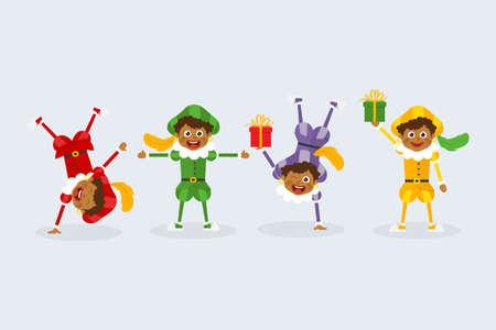 Happy Saint Nicholas day - Dutch traditional folklore kids with gifts - Zwarte Piet Illustration
