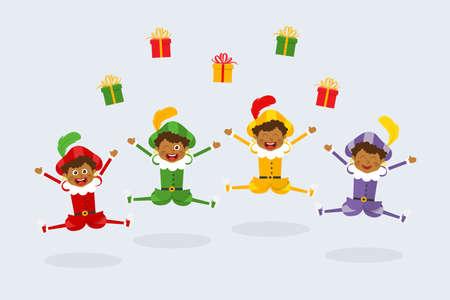 Celebration of Saint Nicholas day with happy Dutch traditional folklore kids - Zwarte Piet