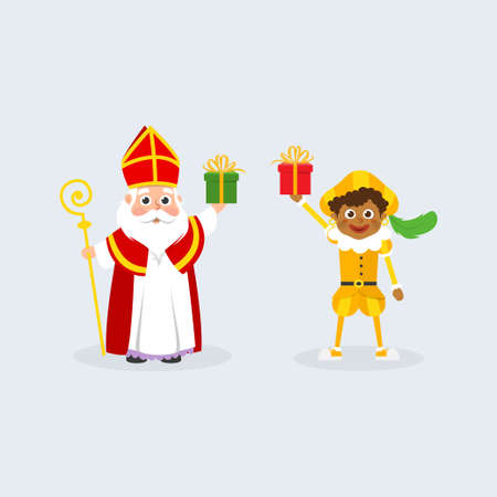 Sinterklaas or Saint Nicholas and kid with gifts celebrate holidays - Dutch traditional characters - Zwarte Piet