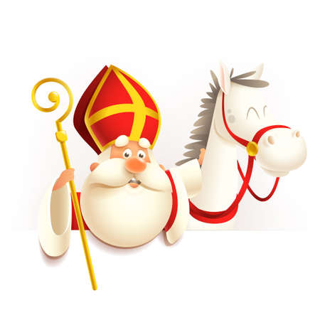 Saint Nicholas Sinterklaas with horse on board - vector illustration isolated on transparent background