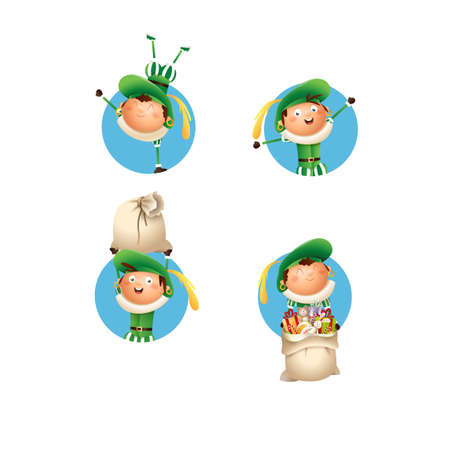 Kids with green costume celebrate Dutch holidays - vector illustration isolated Stock Illustratie