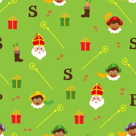 Sinterklaas green pattern - Dutch holidays