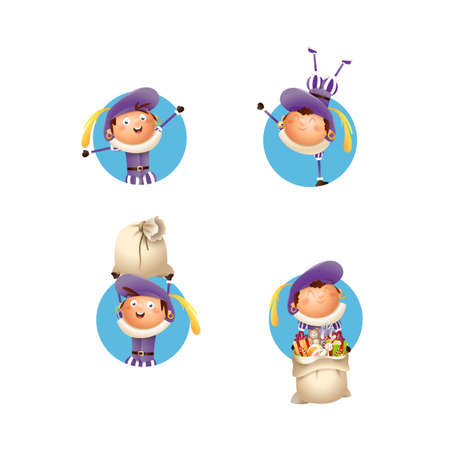 Kids with purple costume celebrate Dutch holidays - vector illustration isolated
