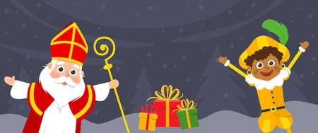 Saint Nicholas and kid Piet celebrate holidays on winter landscape - banner
