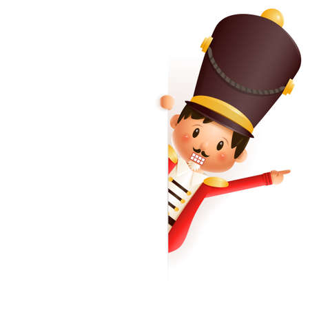 Cute Nutcracker peeking on right side - vector illustration isolated on transparent background