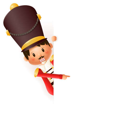 Cute Nutcracker peeking on left side - vector illustration isolated on transparent background