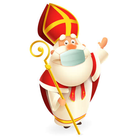 Saint Nicholas or Sinterklaas with anti virus mask celebrate Dutch holidays - cute vector illustration isolated on transparent background
