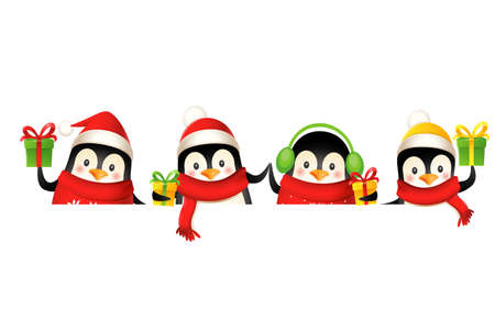Happy cute penguin on board celebrate Christmas holidays