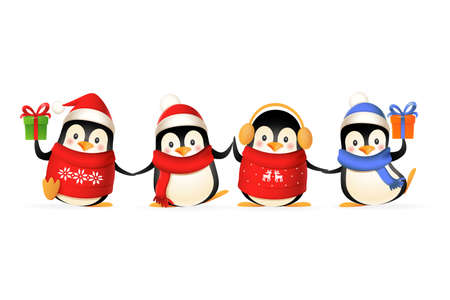 Cute penguin friends celebrate winter holidays - vector illustration isolated on white background